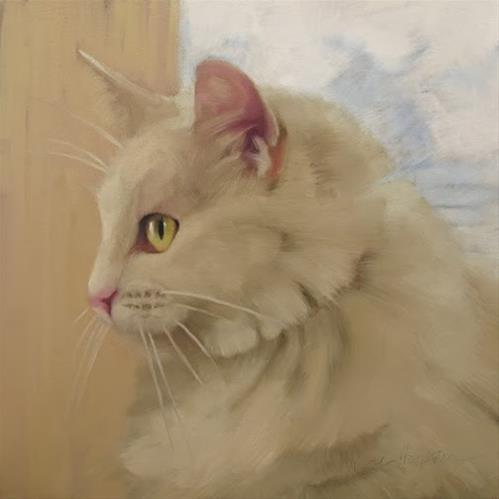 """Lucinda long hair white cat painting"" original fine art by Diane Hoeptner"