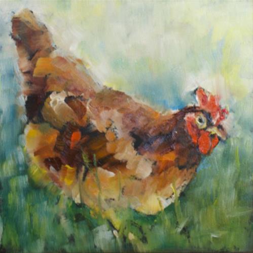 """""""Chicken #4"""" original fine art by Sue Churchgrant"""