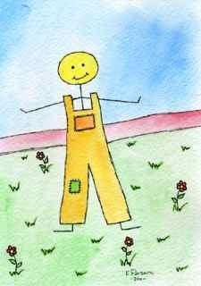 """Happy Stick Man"" original fine art by Kali Parsons"