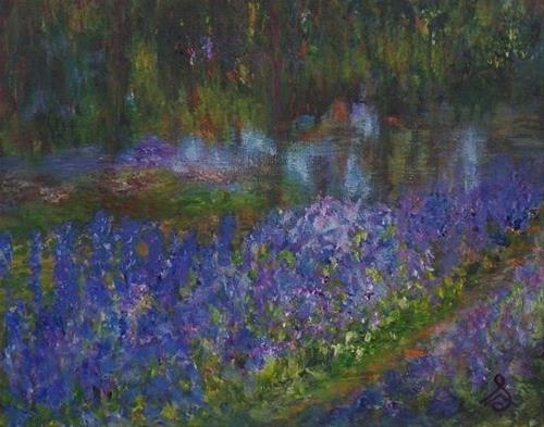 """1034 - Monet's Garden"" original fine art by Sea Dean"