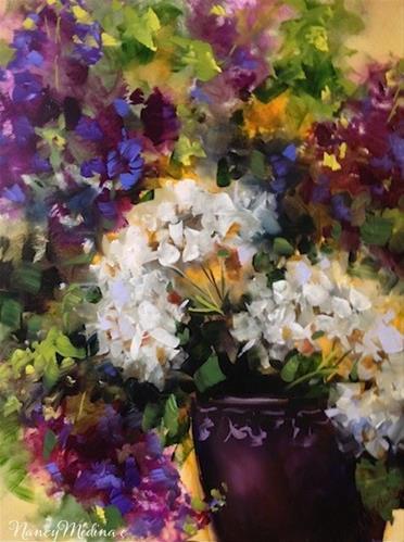 """A Bit of Heaven Hydrangeas by Texas Flower Artist Nancy Medina"" original fine art by Nancy Medina"