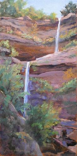 """""""Touches of Autumn at Kaaterskill Falls"""" original fine art by Jamie Williams Grossman"""