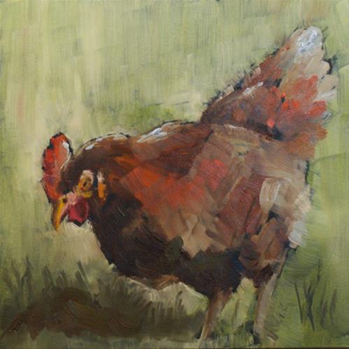 """""""Kitchen Chicken"""" original fine art by Sue Churchgrant"""
