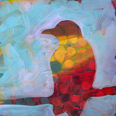 """Crow Upcycled 3"" original fine art by Pam Van Londen"
