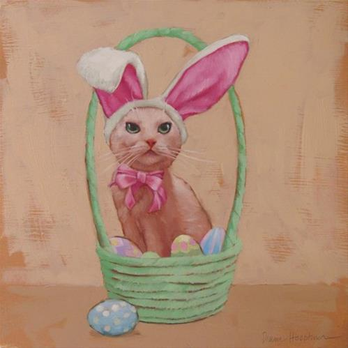 """Holiday Cats,  Easter Cat"" original fine art by Diane Hoeptner"