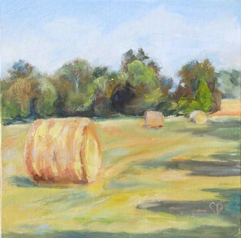 """""""Plein Air- Round Hay Bale Study #1"""" original fine art by Carol DeMumbrum"""