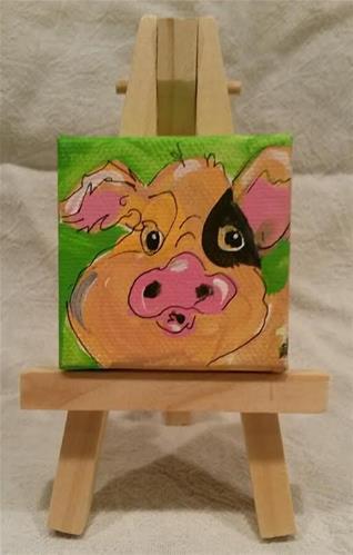 """""""Itty Bitty Piglet"""" original fine art by Terri Einer"""