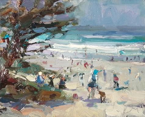 """Painting in California 24 Beach- fiesta trio (sold)"" original fine art by Roos Schuring"