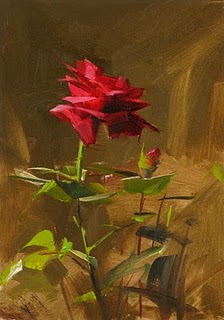 """Red Rose Study 2"" original fine art by Qiang Huang"