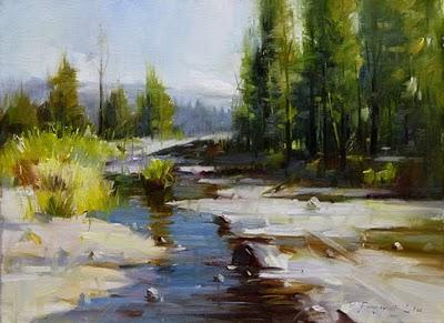 """Quiet creek"" original fine art by Fongwei Liu"