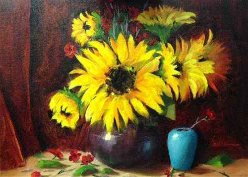 """""""Sunflowers and Celadon Vase"""" original fine art by Dorothy Woolbright"""