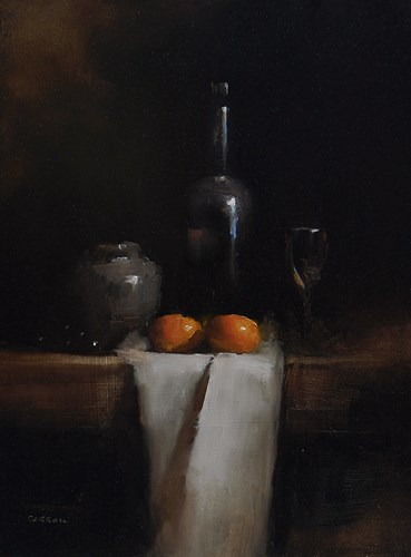 """""""Bottle with Clementines"""" original fine art by Neil Carroll"""