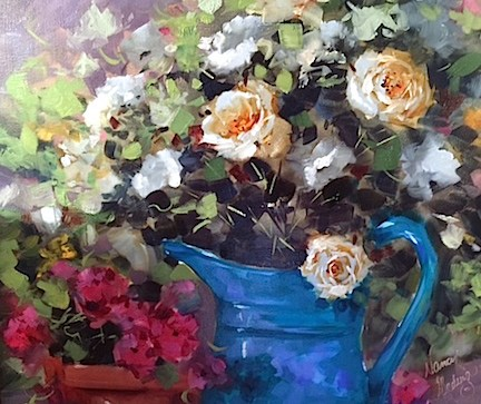 """""""The View From Paris ~ French Roses and Gardens in the Rain"""" original fine art by Nancy Medina"""