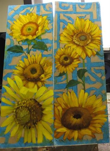 """Sunflower paintings WIP colorful floral"" original fine art by Diane Hoeptner"