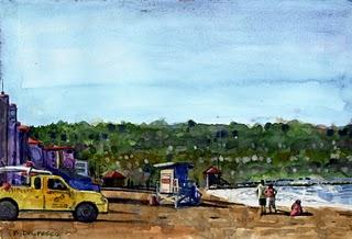 """Watercolor: Life Guard Truck"" original fine art by Belinda Del Pesco"