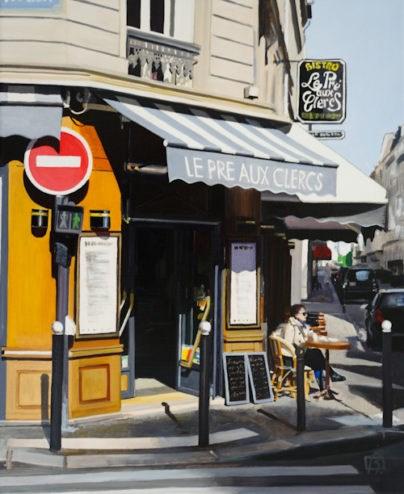 """""""Cafe le pré aux clercs"""" original fine art by Andre Beaulieu"""