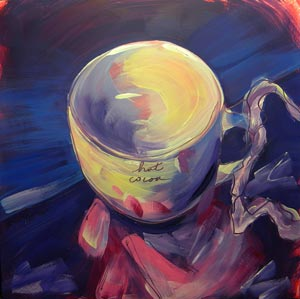 """Hot Cocoa on Shiny Giftbag"" original fine art by Pam Van Londen"