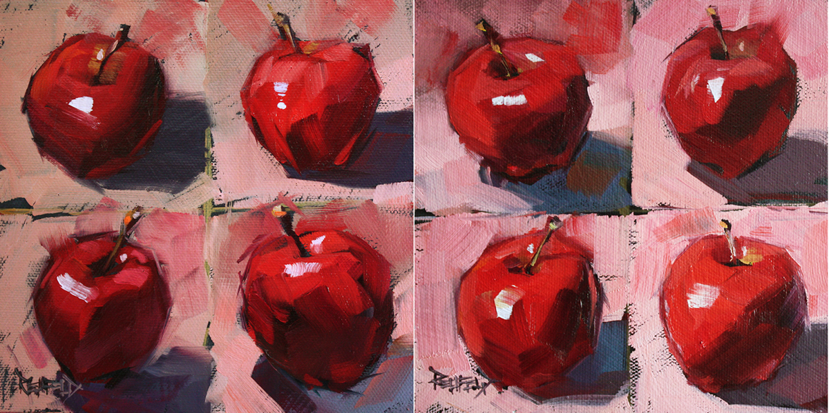 """""""Apple Challenge One and Two (2 paintings)"""" original fine art by Cathleen Rehfeld"""