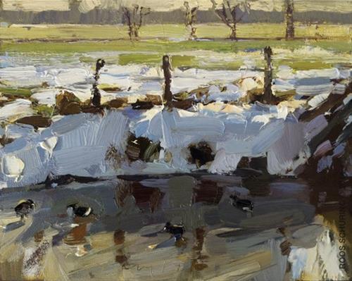 """Sun Snow shade and Ducks"" original fine art by Roos Schuring"