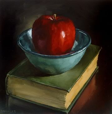 """Enamel Bowl with Apple & Book"" original fine art by Michael Naples"