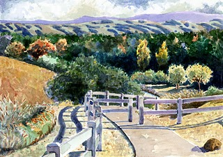 """Watercolor: Summit Path"" original fine art by Belinda Del Pesco"