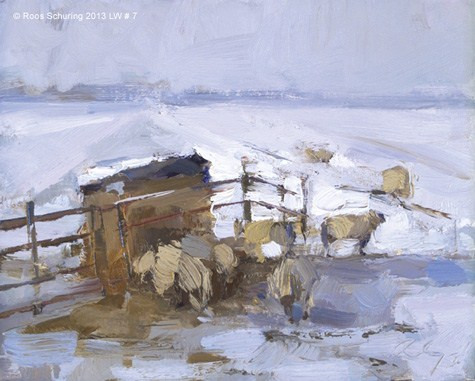 """""""Landscape winter 7 Painting sheep in morning light (on hold)"""" original fine art by Roos Schuring"""