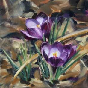 """Oil Painting of Crocuses"" original fine art by Deb Anderson"