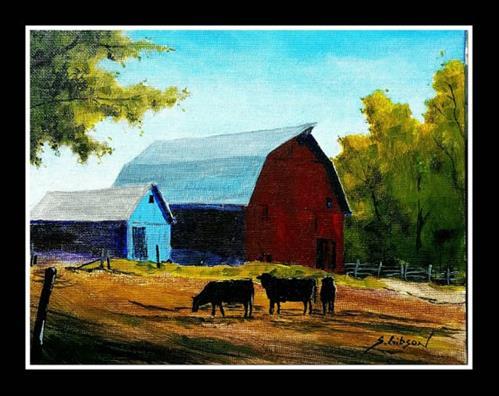 """Weston Blue Barn"" original fine art by Steve Gibson"