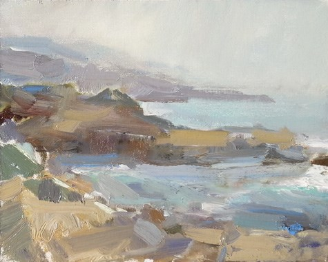 """""""Painting in California 9 Seal lion Cove"""" original fine art by Roos Schuring"""