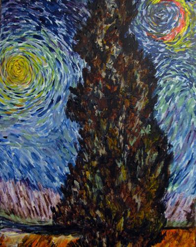 """Cypress with Star variation"" original fine art by Nan Johnson"