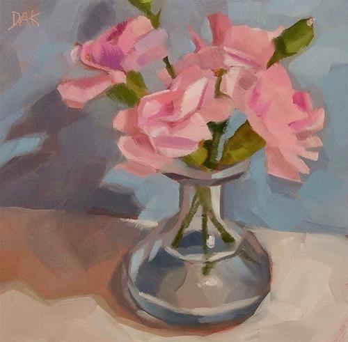 """""""Pink Carnations"""" original fine art by Deborah Ann Kirkeeide"""