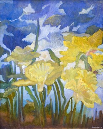 """Daffodil Wind II"" original fine art by Deirdre McCullough Grunwald"