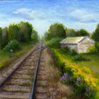 """By the Tracks"" original fine art by Debbie Shirley"