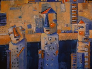 """City Folk"" original fine art by Brenda York"