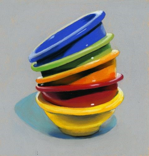 """Stacked Rainbow Bowls pastel painting"" original fine art by Ria Hills"