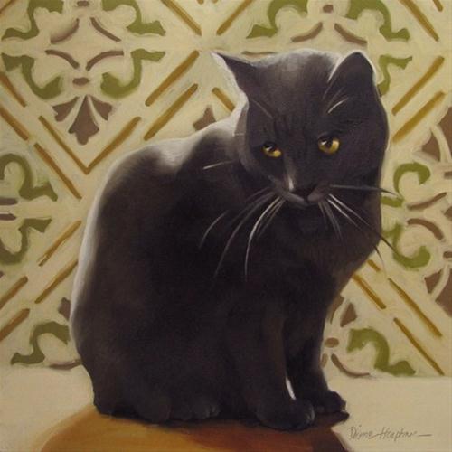"""""""Sad Coco sentimental painting of sad cat"""" original fine art by Diane Hoeptner"""