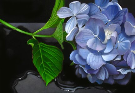 """Blue Hydrangea 5.5x 8"" original fine art by M Collier"