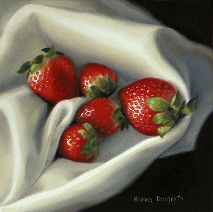 """Strawberries on Linen"" original fine art by Nance Danforth"