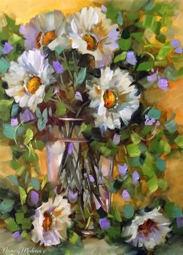 """SOLD ~ Day 30 ~ Summer Sisters White Daisies by Floral Artist Nancy Medina"" original fine art by Nancy Medina"