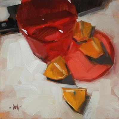 """Red Light District"" original fine art by Carol Marine"