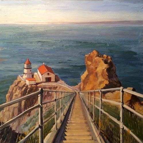 """""""Lighthouse"""" original fine art by Deborah Newman"""
