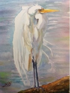 """Day 7 - Great Egret 2"" original fine art by Lyn Gill"
