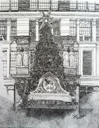"""""""Christmas in NYC Stippling (all dots) by Joye DeGoede"""" original fine art by Joye DeGoede"""