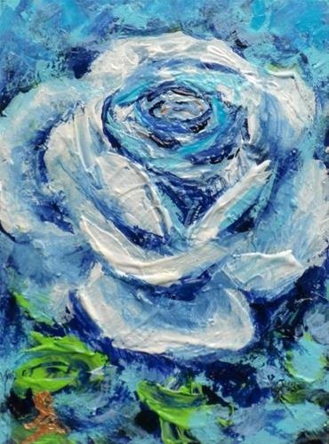 """""""3244 - ONCE IN A BLUE ROSE - ACEO Series"""" original fine art by Sea Dean"""