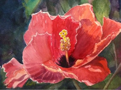 """""""Day 10 - Salmon Hibiscus"""" original fine art by Lyn Gill"""