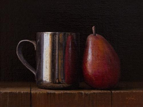 """""""Still Life with Silver Cup and Red Pear"""" original fine art by Abbey Ryan"""