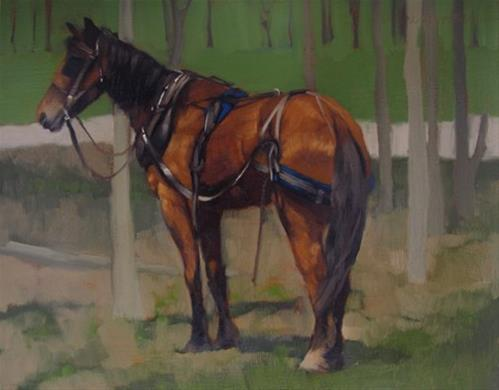 """""""Amish Buggy Horse and reception at Gallery + 78th ST Studios"""" original fine art by Diane Hoeptner"""