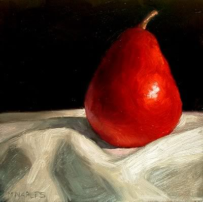 """Lonely Red Pear"" original fine art by Michael Naples"