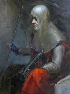 """A resting warrior"" original fine art by Fongwei Liu"