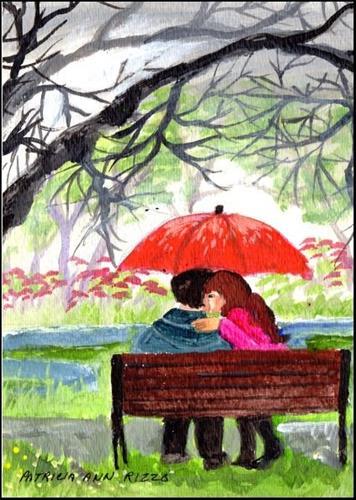 """""""Love in the Rain"""" original fine art by Patricia Ann Rizzo"""